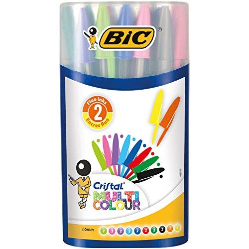 BIC Cristal Multicolour Large Ballpoint Pen - Assorted (Case of - Pencil Colored Bic