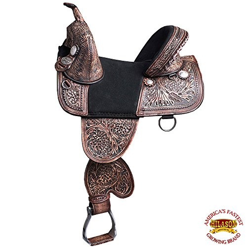 HILASON 12″ 13″ Child TREELESS Western Barrel Racing Trail Horse Saddle TAN/Mahogany/Brown/Turquoise