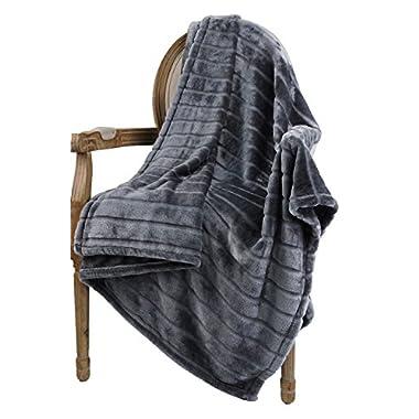 Bertte Ultra Velvet Plush Super Soft Decorative Stripe Throw Blanket-50 x 60 , Solid Dark Grey