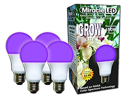Miracle LED 604272 12W Absolute Daylight Max Grow Lite with Red & Blue 2 Pack Box Replaces up to 150W-Combines Light for Healthy Plant Growth in Diy Horticulture, Hydroponics