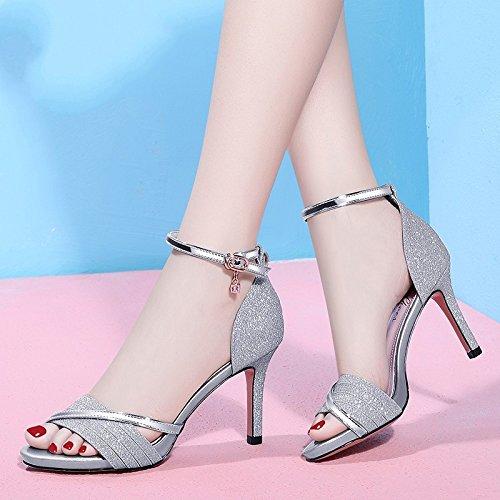 altos con de agua Femenino a pescado Tacones Jqdyl impermeable Nuevo Silver Plataforma Zapatos prueba tacones de verano de Sandalias boca 2018 Femeninos RYSTnS