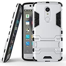 ZTE Axon 7 Cover DWaybox 2 in 1 Hybrid Heavy Duty Armor Hard Back Case Cover with kickstand for ZTE Axon 7 / ZTE Axon 7 Premium A2017 / ZTE Axon 7S 5.5 Inches (Silver)