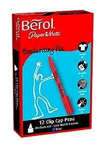 Berol Handwriting Pen Water-based Ink Plastic 0.9mm Tip 0.6mm Line Blue Ref S0378760 [Pack 12]