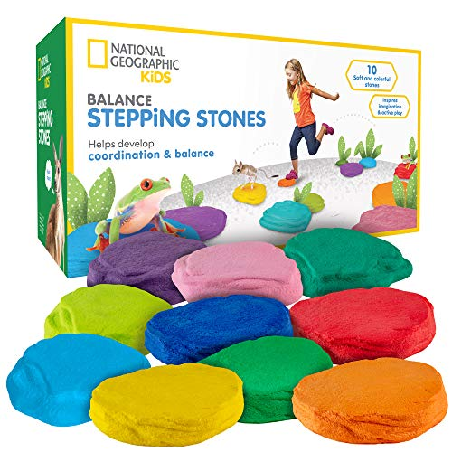 (NATIONAL GEOGRAPHIC Balance Stepping Stones - Early Learning & Development for Kids with 10 Soft Stones)