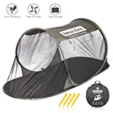 Dimples Excel Single Instant Pop Up Mosquito Net Automatic Self-expanding Tent for Outdoor, Beach, Hiking, Traveling, Backyard, Backpacking (Automatic tent – army green)