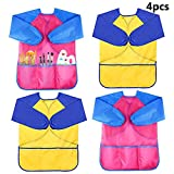 WXBOOM 4Pcs Kids Waterproof Art Smock Children's Art Aprons Long Sleeve with 3 Pockets