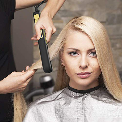 KIPOZI Flat Iron 1 Inch Titanium Hair Straightener with Adjustable Temperature High Heat 450 degrees Frizz Free Dual Voltage Heats Up Quickly Matte Black
