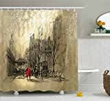 City Scene Shower Curtain Ambesonne Apartment Decor Shower Curtain by, Love Couple Walking in City Streets in Rainy Day Romance Dramatic Urban Scene, Fabric Bathroom Decor Set with Hooks, 84 Inches Extra Long, Sepia