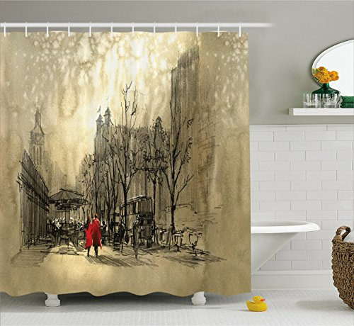 Decor Scene Street (Ambesonne Apartment Decor Shower Curtain by, Love Couple Walking in City Streets in Rainy Day Romance Dramatic Urban Scene, Fabric Bathroom Decor Set with Hooks, 84 Inches Extra Long, Sepia)