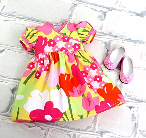 Pink Yellow Floral Easter Doll Dress with Matching Shoes, fits 18 inch dolls such as American Girl and Our Generation