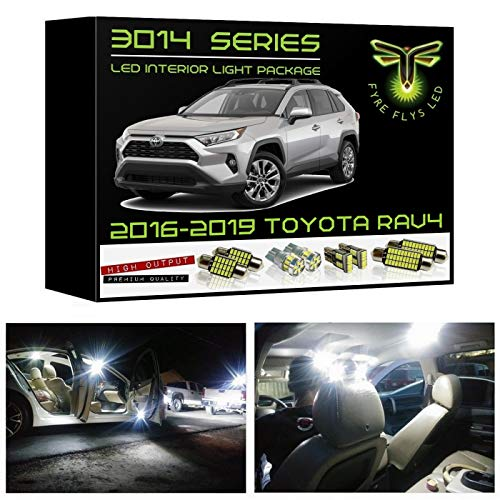 Fyre Flys 8 Piece White LED Interior Lights for 2016-2019 Toyota RAV4 Super Bright 6000K 3014 Series SMD Package Kit and Install Tool