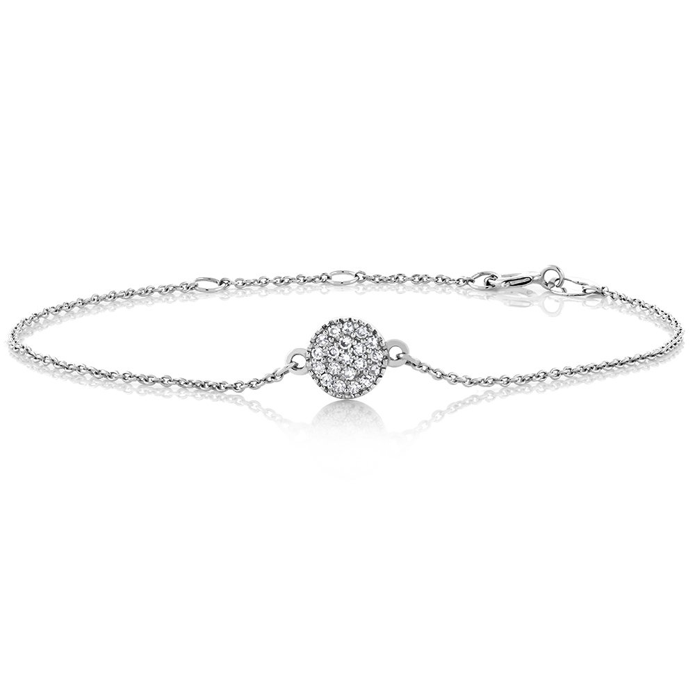 10K Solid White Gold 0.10 cttw Diamond Pave Disc Bracelet with Adjustable Length from 5.5'' to 6.5'' by Gem Stone King