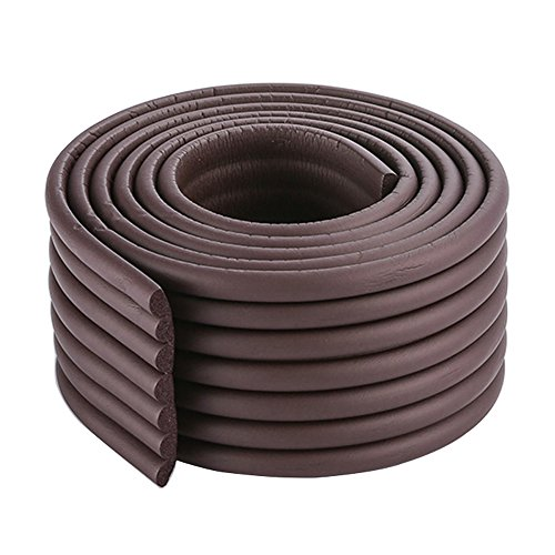 2x2m/13ft Thickened Wall Edge Bumper Shelf Edge Protector Furniture Safety Protection in Coffee Brown