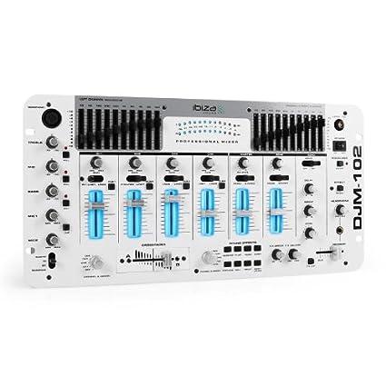 Ibiza DJM-102 Pro Mesa de Mezclas DJ de 4 Canales con iluminación ...