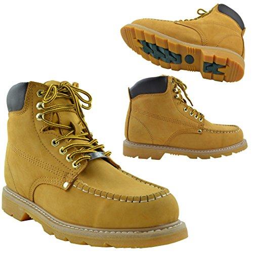 Botas Para Hombres Resistente Al Aceite Cosido Cuero Trabajo Senderismo Acolchado Zapatos Tan Bronceado