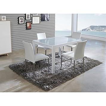 Générique Table à Manger rectangulaire Extensible 120-240cm en Verre et  métal laqué Blanc Grus ca143a6e65bb