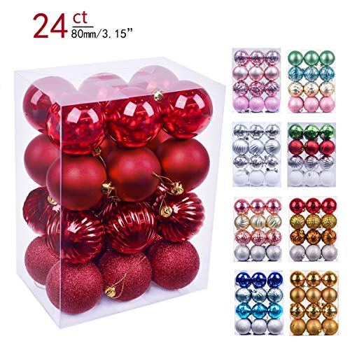 Valery Madelyn 24ct 80mm Essential Red Basic Ball Shatterproof Christmas Ball Ornaments Decoration,Themed with Tree Skirt(Not Included) -