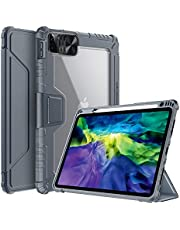 جراب من نيلكن لجهاز iPad Pro 11 بوصة 2021/2020 (الجيل الثالث/الثاني)، iPad Air 10.9 / Air 4th 2020، [غطاء كاميرا منزلق، حامل أقلام مدمج] غطاء حامل واقٍ ذكي مع نوم تلقائي، رمادي