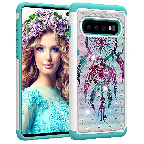 Price comparison product image Galaxy S10 Plus Case, Samsung S10 Plus Luxury Glitter Sparkle Bling Case, Studded Rhinestone Crystal Hybrid Dual Layer Armor Protect Case for Samsung Galaxy S10 Plus Blue Dream Catcher Mandala Flowers