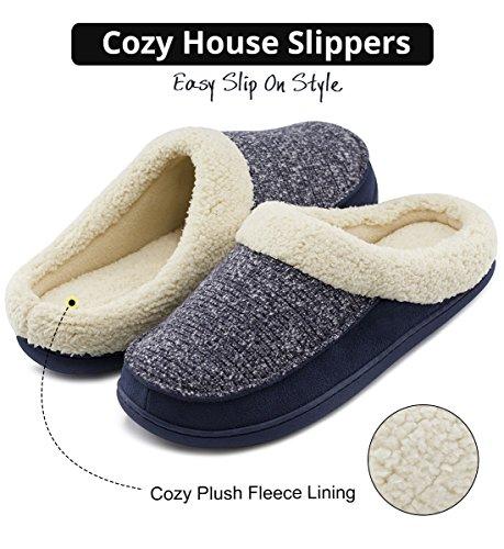 Hometop Hombres Y Mujeres Confort Zapatillas De Espuma Con Memoria Fuzzy Wool Felpa Slip-on Zapatos De Casa Con Suela Interior Y Al Aire Libre Azul Marino