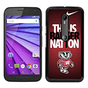 Ncaa Big Ten Conference Football Wisconsin Badgers 9 Black Recommended Picture Custom Motorola Moto G 3rd Generation Case