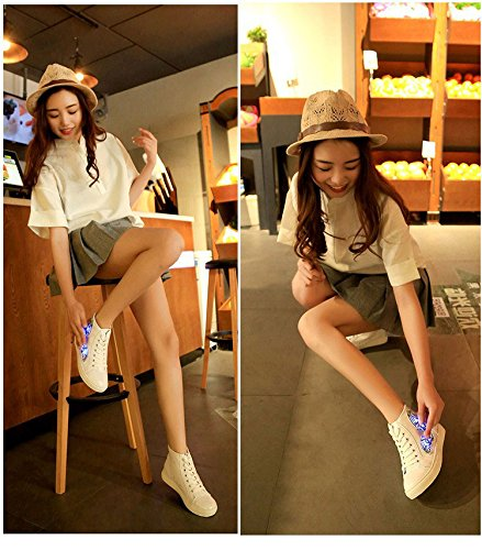 Gaorui Mujer Zapatos De Plataforma Ligera Lace Up Sneakers Led Ronda Punta Del Dedo Del Pie High Top Trainers Blanco