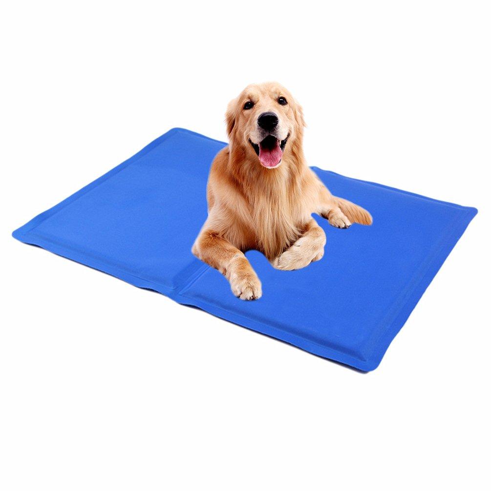 Petacc Alfombrilla de Refrigeración para Mascotas Práctica y Plegable Cojín Duradero para Enfriar Mascotas, Azul, S