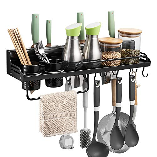 - BESy Multifunctional Kitchen Wall Storage Pot Lid Rack, Hanging Pot Rack Organizers Wall Mounted, Kitchen Cooking Utensil Holder Caddy with Bottle Rack, Knife Pan Hanger with 10 hooks, Matte Black