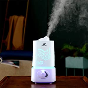 Ultrasonic Cool Mist Humidifier for Bedroom Baby Room,1.5L(0.4 Gal) Premium Home Humidifier with Pattern Cover,360°Nozzle,Whisper-Quiet,Mist Output and Night Light Control,Easy to Clean,Up to 12 Hours