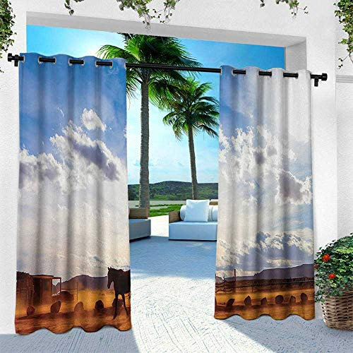 leinuoyi Western, for Front Porch Covered Patio Gazebo Dock Beach Home, Horse in Monument Valley Open Sky with Clouds in Arizona America Landscape Print, W96 x L96 Inch, Cream Blue (Best Japanese Restaurant Soho)