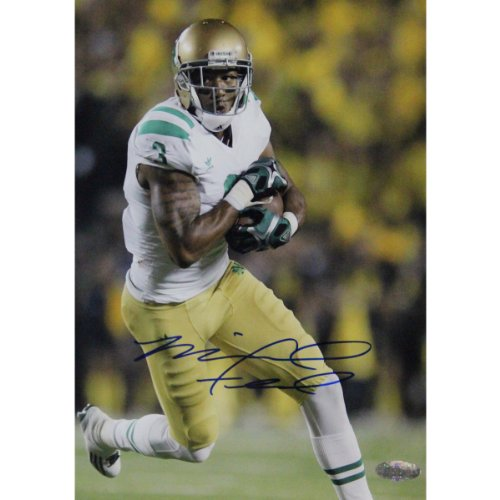 NCAA Notre Dame Fighting Irish Michael Floyd Running with Ball White Jersey Signed Vertical Photograph, 8x10-Inch -