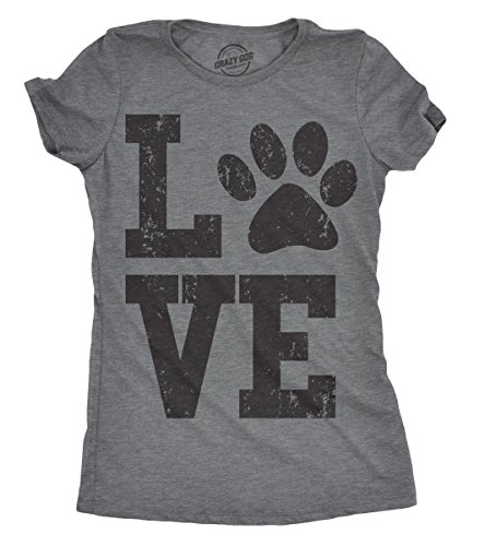 (Womens Love Paw Tshirt Cute Adorable Dog Lover Pet Tee for Ladies (Dark Heather Grey) - S)
