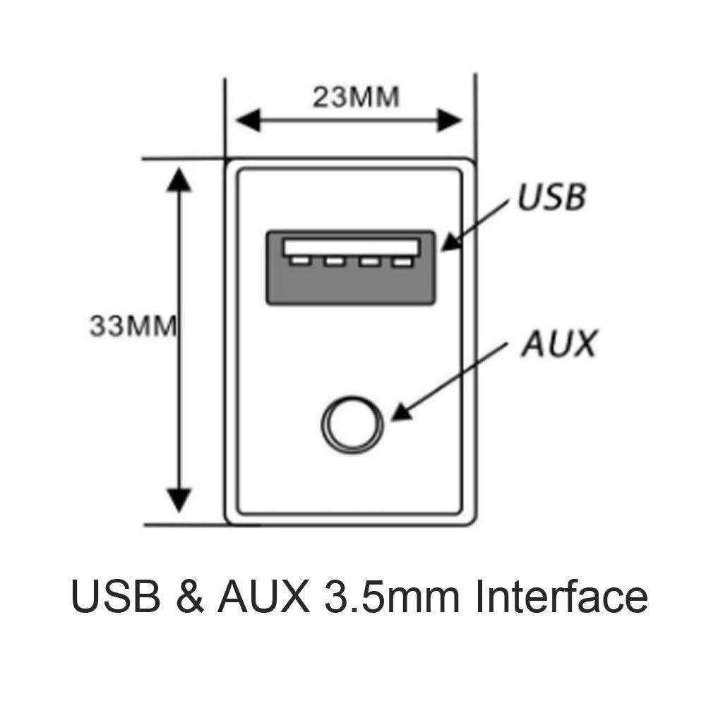 Auto Cinch Kabel Adapter mit 3,5/mm Audio Jack Aux USB-Kabel Erweiterung Halterung Panel Mount Kabel f/ür VW Toyota