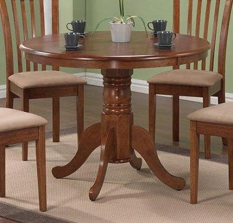 pedestal round dining table dark oak finish - Dark Oak Dining Table