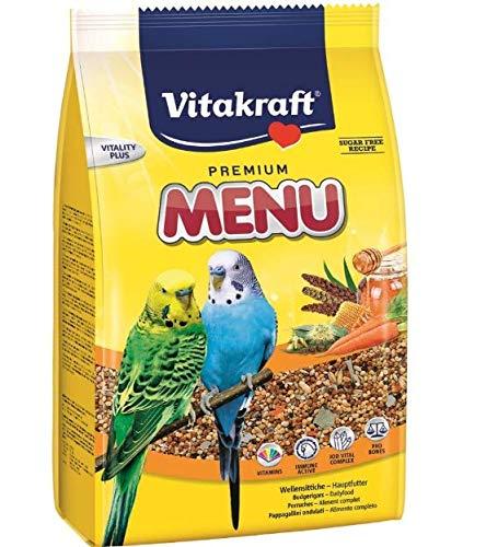 Vitakraft PREMIUM MENU FOR BUDGIES -500G- COMPLETE FOOD - SUGAR-FREE VITAMINS (1X) LEEWAY