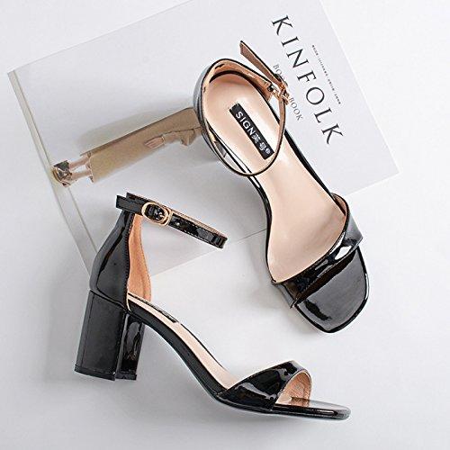 Shoeshaoge Femmes Couleur Chaussures Pour Haut Étudiants Avec Cuir Color En Talon Un Sandales Les Et Fun Unie Boucle Mot qqwR1Tarx