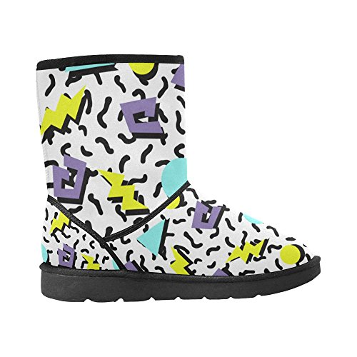 Snow Color14 Pattern 12 InterestPrint Floral 5 Size Print Boots Ladies Womens 5 Tribal colorful Circles Ethnic Classic Doodle 7wAtqwT