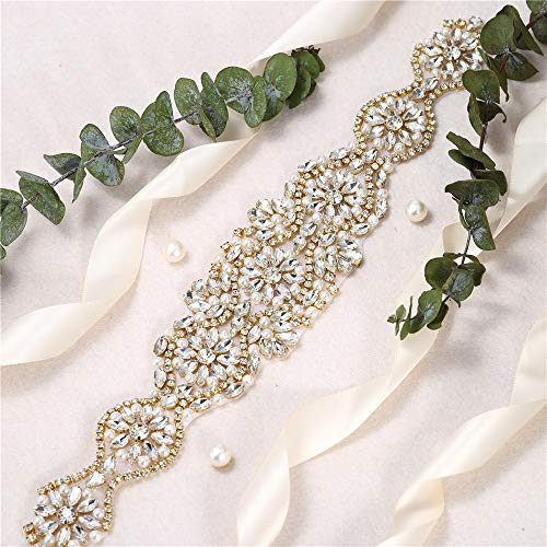 FENGZHITAO Crystal Rhinestone Sash Belt Applique Handcrafted Sparkle Sewn or Hot Fix for Bridal Wedding Dresses Women Gown Evening Prom Clothes -1 Piece (Gold)