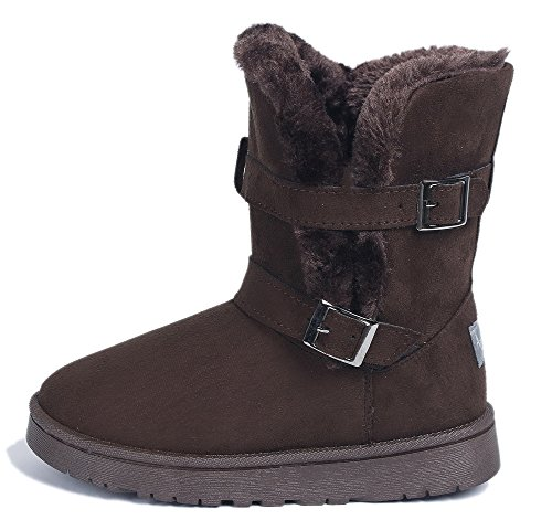 AgeeMi Shoes Mujer Doble Button Bota Nieve Invierno Zapatos Clásicas Botines camello