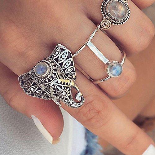 Fashion Ring, Hoshell Unique 3 Rings Set New Bohemian Vintage Women Alloy Elephant Shape Finger Rings Jewelry