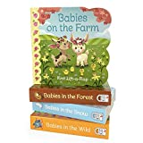 img - for 4 Pack Chunky Lift-a-Flap Baby Animals Board Books: Babies on the Farm, Babies in the Forest, Babies in the Wild, Babies in the Snow book / textbook / text book