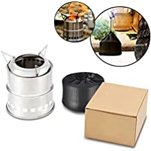 Hisea Camping Stove Portable Lightweight Wood Burning Stoves Alcohol Stove with Carry Bag for Outdoor Backpacking Hiking Traveling Picnic BBQ