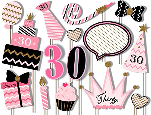 30th Birthday Elegant Pink and Gold Photo Booth Props Kit - 20 Pack Party Camera Props Fully -