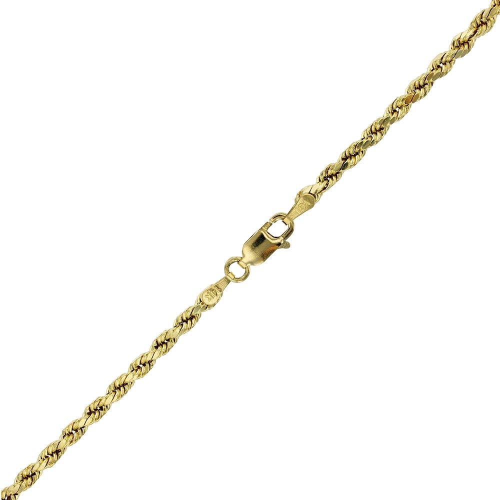 14k Yellow Gold Diamond Cut Hollow Rope 3.50MM 025 8'' Bracelet