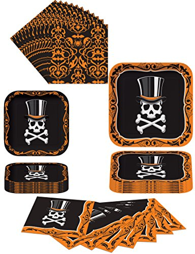 Top Hat Terror Halloween Party Supply Pack. Bundle Includes Plates and Napkins for 8 Guests