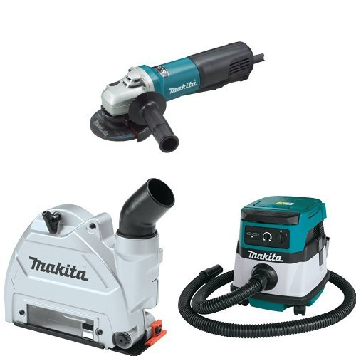 Makita 9564PC 4-1/2-Inch Angle Grinder with Paddle Switch  with Makita 196846-1 Dust Extracting Tuck Point Guard, 5 inch with Makita XCV04Z 18V X2 LXT Lithium-Ion Cordless/Corded Dry Vacuum, 2.1 gallon