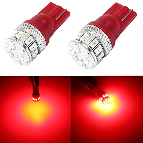Alla Lighting 500 Lumens Super Bright Pure Red 194 168 2825 175 W5W 158 161 192 LED Bulb T10 Wedge High Power 3014 18-SMD LED Lights Bulbs Lamps (1990 Pontiac Firebird Replacement)