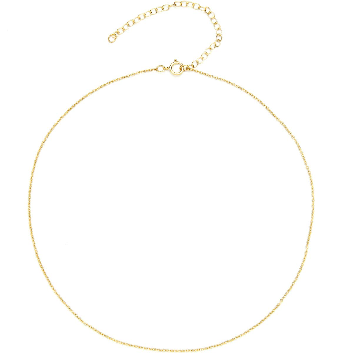 BENIQUE Dainty Short Chain Necklace Choker for Women - 925 Sterling Silver, 14K Gold Filled, Rose Gold Filled, Everyday Jewelry for Layering, Made in USA, 13''+3'' Adjustable Extender (14K Gold Filled)