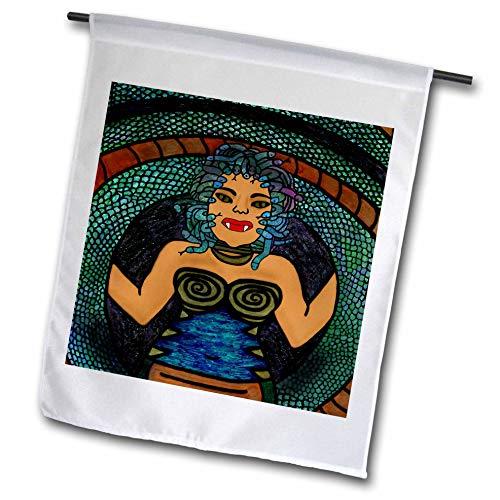 (3dRose BlakCircleGirl - Halloween - Medusa - The Mythological Medusa with a Snake Body and snakey Hair - 18 x 27 inch Garden Flag)