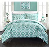 Chic Home 3-Piece Elizabeth Geometric Diamond Printed Reversible Duvet Cover Set, King, Green